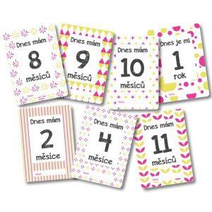 Milníkové kartičky - Můj první rok - žluto-růžové