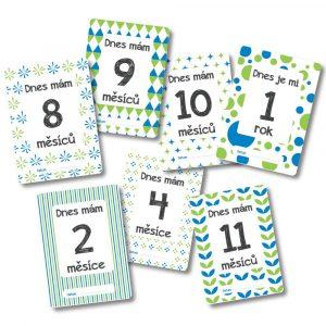 Milníkové kartičky - Můj první rok - zeleno-modré