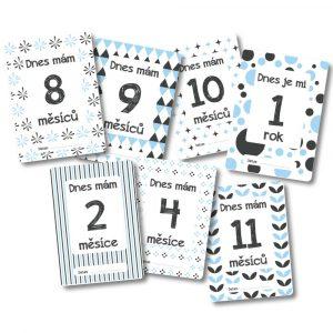Milníkové kartičky - Můj první rok - šedo-modré